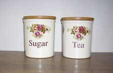 More details for t.g green pottery cloverleaf tea and sugar storage jars (approx 13 cm).