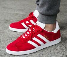 Adidas Gazelle sz 8.5 Mens Scarlet Red White GOLD Trainers Shoes Sneakers S