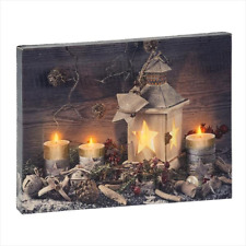 Midwest-CBK – Holiday Lantern and Candles Canvas LED LightUp Wall/Tabletop Decor