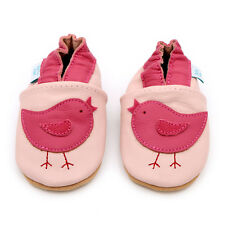 Dotty Fish Girls Soft Leather Baby and Toddler Shoes With Non Slip Suede Soles 2-3 Pink Bird