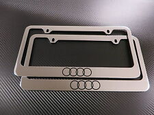 (2pcs) 4 Ring LOGO chrome METAL license plate frame - Front & Rear