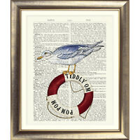 ART PRINT ON DICTIONARY ANTIQUE PAGE Nautical Picture Seaside Sea Gull Poster