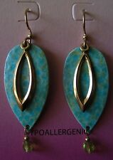 Jody Coyote Earrings JC0119 new hypoallergenic green gold dangle Made USA P