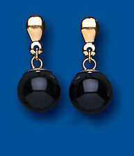 Gold Round Drops Dangle ONYX Ball 9ct Yellow Gold EARRINGS LADIES AP0325