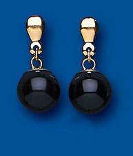 Onyx 9 Carat Yellow Gold Drop/Dangle Fine Earrings