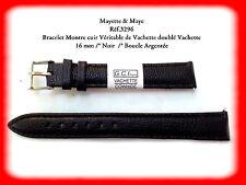 BRACELET MONTRE CUIR VERITABLE DE VACHETTE DOUBLÉ VACHETTE NOIR 16mm  REF.3296