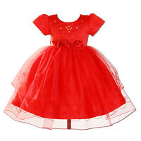New Flower Girl Party Pageant Christening Dress in 3 Colours 0-3 to 12-18 Months