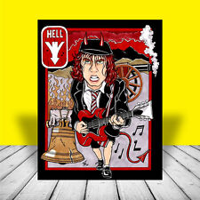 New ANGUS YOUNG on guitar AC/DC Highway to Hell ART, poster, signed by artist