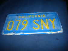 Vintage California Single Blue With Yellow license Plate # 079 SNY