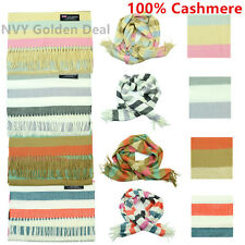 Wholesale Lot Men Women 100% CASHMERE Scarf Scotland Horizonta Stripe Wool Feel