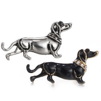 Enamel Crystal Rhinestone Dog Animal Brooch Collar Brooch Pin Women Jewe Lr