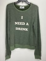 Wildfox Couture Womens I Need A Drink Pullover Sweater Green