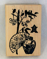 ASIAN ORIENTAL FAN FLOWERS VASE Wood Mounted Rubber Stamp Stamp Studio Inc. NEW
