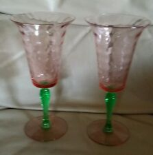 RARE Fry Glass Depression Pink & Green Watermelon Diamond Optic WATER WINE 8 oz