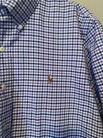 Mens Polo Ralph Lauren Long Sleeve Check Button Up Shirt Vtg Rare Cotton Size XL