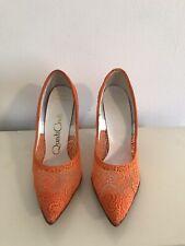 Orange Lace Vintage 1950s Quali Craft High Heels Sz 5 B