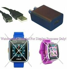 Black Wall Charger Power Supply + Black USB Cable For VTech DX DX2 Smart Watch