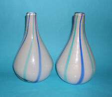 Studio Art Glass - Pair of Attractive Vases in Blue Stripe Design -Pontil Polish