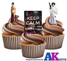 12 x Star Wars Principessa Leia KEEP CALM MIX divertente tazza Commestibili Decorazioni per Torta Supporto UPS