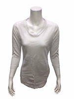 Isaac Mizrahi Essentials Pima Cotton 3/4 Sleeve Tunic Top White XX-Small Size
