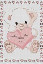 Cross stitch chart-Nuovo Bambino Nascita campionatore Baby Orso e Cuore Flowerpower 37-uk