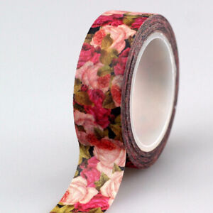 Pink Rose Floral Paper Washi Tape - 15mm x 10m - Stationery Craft Journalling