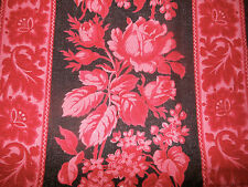 Antique 19thc French Roses Stripe Cotton Fabric ~ Red Deep Pink Black ~ unique