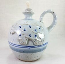 Vintage Signed Holmquist Pottery Handthrown Glazed Oil Lamp Cow Minnesota USA