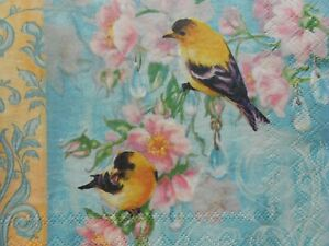4 pcs Paper Napkins for Decoupage Two Yellow Birds
