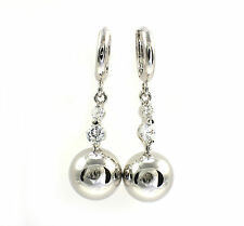 18k White Gold Filled Dangling Ball Huggie Earrings with Swarovski Crystal