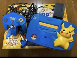 Nintendo 64 Console Pikachu Blue Yellow Console System N64 BOX USED Japanese