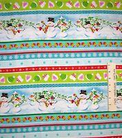Christmas Fabric - Frosty Flakes Snowman Stripe Bright - Henry Glass YARD