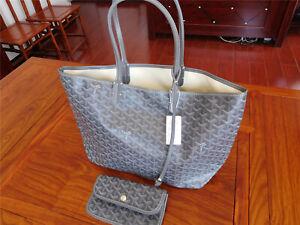 Auth GOYARD Saint Louis PM Tote Bag Canvas/Leather Grey