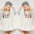 New Kids Girls Bunny Princess Party Dress Long sleeve Tulle Tutu Gown Dress 1-6T