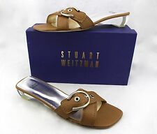 STUART WEITZMAN Horseset Brown Honey Leather Buckle Lucite Sandals Slides 11