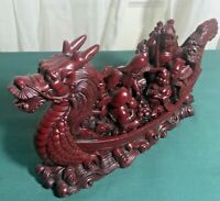 "Vtg Chinese Large Red Resin Dragon Boat Statue Figurine Good Fortune 5.25"" T 9""W"