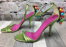 DiFoffo Sz 4.5 Green Satin Leather Sole Strappy Bead Back Sandal Heel Shoes