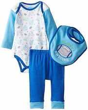 NEW Bon Bebe Football Game Baby Newborn Boys Girls Set Bodysuit Pants Bib 0-3 Mo