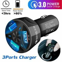 For IOS Android 3 Ports USB Car Charger Adapter LED Display QC 3.0 Fast Charging
