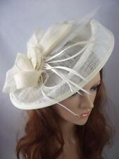 Ivory Cream Large Oval Saucer Sinamay Fascinator - Occasion Wedding Races Hat