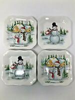 Set of 4 Maxcera Snowmen Christmas Appetizer Bread Tid Bit Porcelain Plates