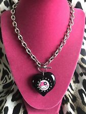 Tarina Tarantino Pink Head Hello Kitty Black Puffy Lucite Heart Mod Necklace