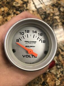 Volts 4391 AutoMeter Pro Comp Ultra Lite 2-1/16 Silver Gauge Auto Meter