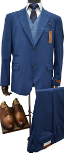 Mens Steve Harvey French Blue 3Pc Vested Classic Fit Suit 118735SHS