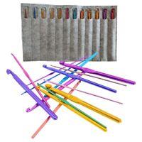 Crochet Hooks Set Aluminum & Bamboo Knitting Needles with Ergonomic Handle T9P6