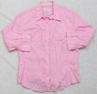 Lee Riders Dress Shirt 3/4 Sleeve Women's Pink White Cotton Floral Top Woman's