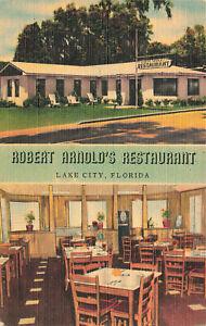 Lake City FL Robert Arnold's Restaurant Duo View Linen Postcard