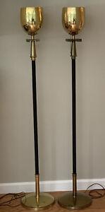 Vintage Pair Tommi Parzinger Torchiere Floor Lamp Greek Key Brass