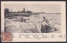BOLOGNA CITTÀ 213 PONTE fiume RENO LAVANDAIE Cartolina viaggiata primi '900