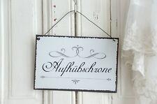 Aufhübschzone Textschild Schild Blechschild Spruch Vintage Shabby Chic